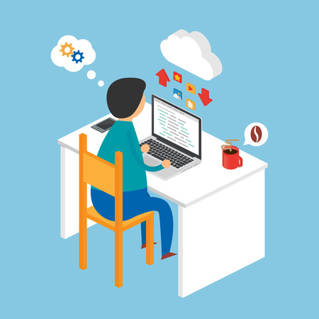 Illustration of a programmer sitting at the desk and working on the laptop, isometric style Ilustração