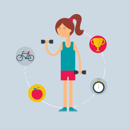 sportswoman: Character - sportswoman, sport concept. Vector illustration, flat style Illustration