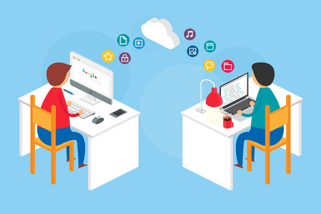 Team collaboration, website development process. Vector illustration, isometric style Çizim