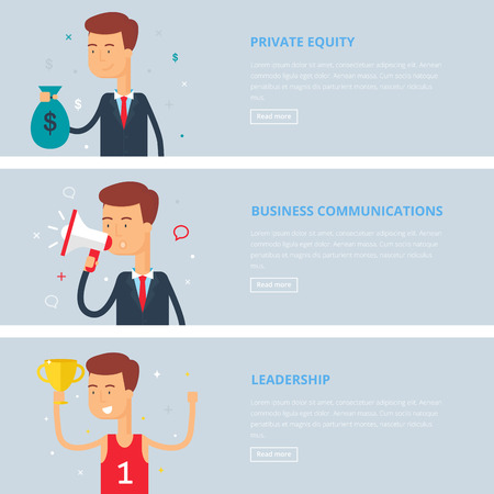 equity: Banners for web: private equity, business communications, leadership. Flat style, vector illustration with characters Illustration