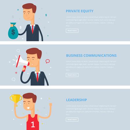 equity: Banners para web: capital privado, las comunicaciones empresariales, liderazgo. Estilo plano, ilustraci�n vectorial con personajes Vectores