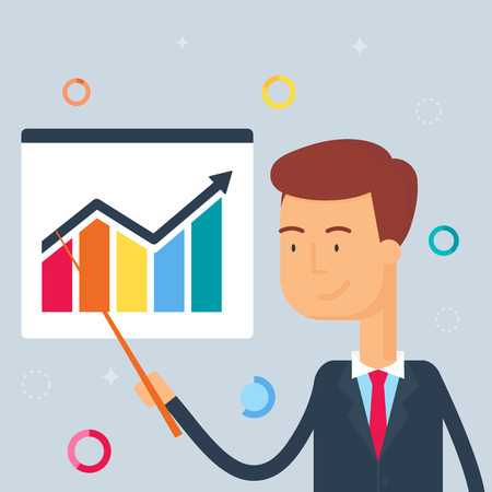 happy employees: Illustration of businessman, presentation, flat style