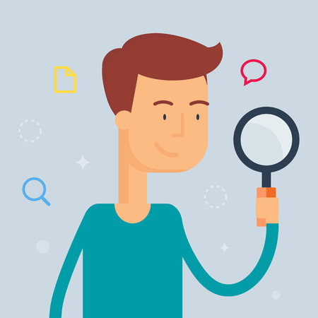 magnifying glass man: Illustration of person holding a magnifier, search concept, flat style