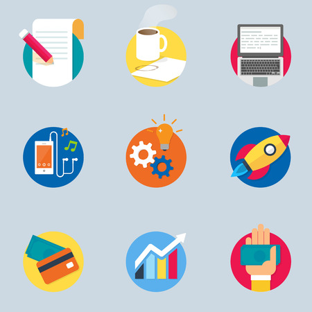 Web and business icons, flat style Vector
