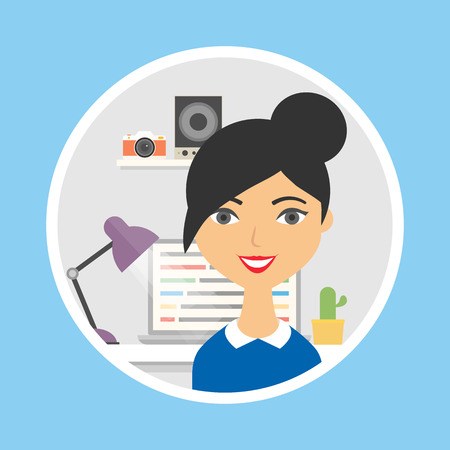 Icon of a female character in the office, flat style