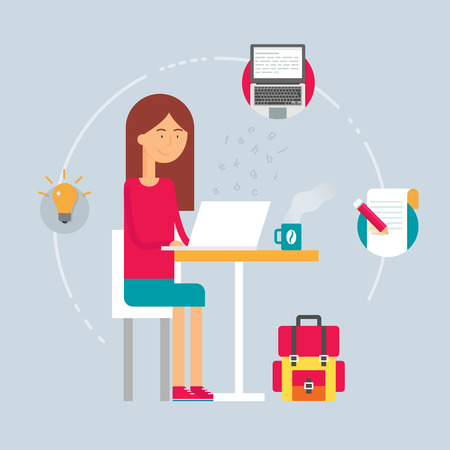 writer: Illustration of a copywriter sitting at the table and using laptop.  Illustration