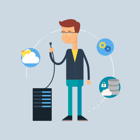 Character - system administrator. Vector illustration, flat style Vettoriali