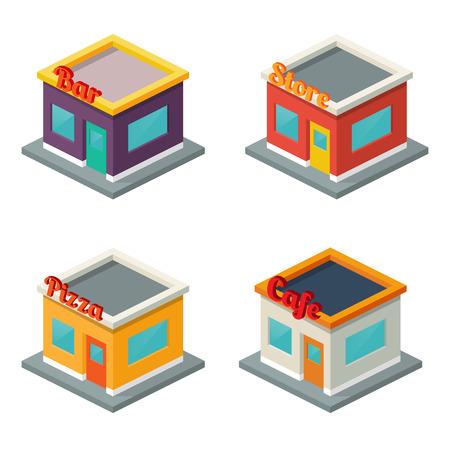 바, 상점, 피자, 카페 : 건물의 집합입니다. 아이소 메트릭 스타일 일러스트