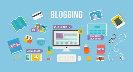 블로그, 플랫 스타일의 그림
