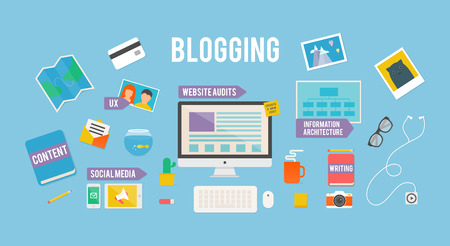 article marketing: illustration for blog, flat style