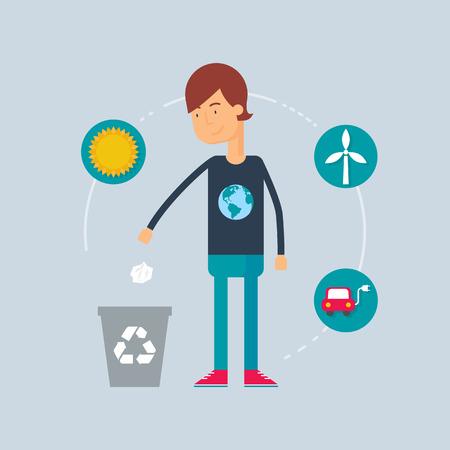 ecologist: Character - ecologist. Vector illustration, flat style Illustration