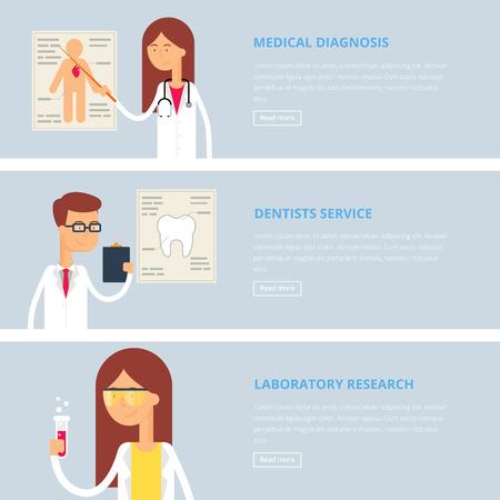 dientes caricatura: Banderas m�dicos para web: diagn�stico m�dico, servicio de dentistas, investigaci�n de laboratorio. Estilo plano, ilustraci�n vectorial con personajes