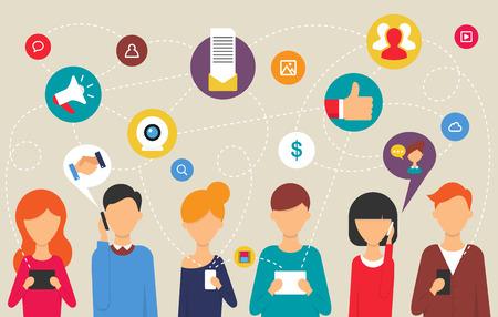 통신: 웹 및 인포 그래픽을위한 소셜 네트워크와 팀워크 개념. 웹 플랫 디자인 스타일 현대 벡터 일러스트 레이 션 일러스트