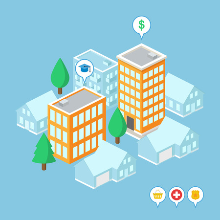 Isometric buildings: bank, university, hospital, shop, police. Vector illustration Vector
