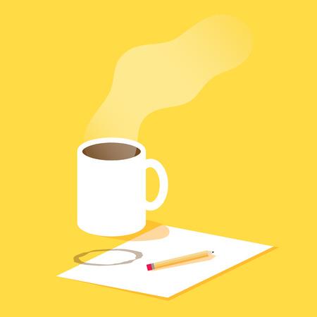 lapiz: Taza de caf�, papel, l�piz, proceso de creatividad. Ilustraci�n del vector para los blogs, redacci�n, estilo plano Vectores