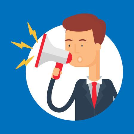man presenting: Vector illustration of a businessman shouting into a megaphone, modern flat style Illustration