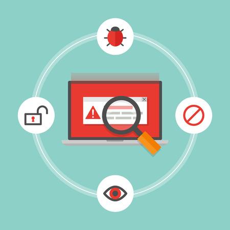 virus alert: Computer viruses concept. Vector illustration, flat style