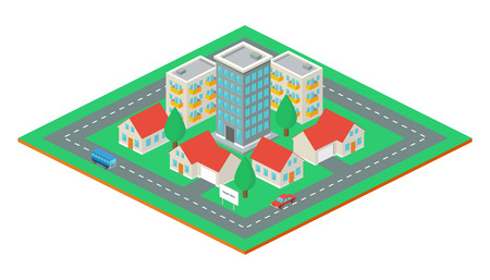 Isometric city, vector illustration Vector