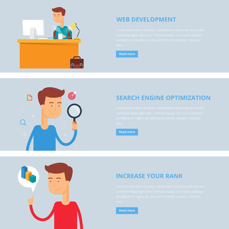 rank: Banners for web: web development, search engine optimization, increase your rank. Flat style, vector illustration with characters