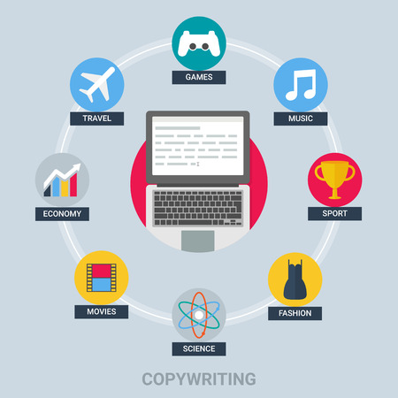 copywriting: Copywriting and blogging concept: games, music, sport, fashion, science, movies, economy, travel. Vector illustration flat style
