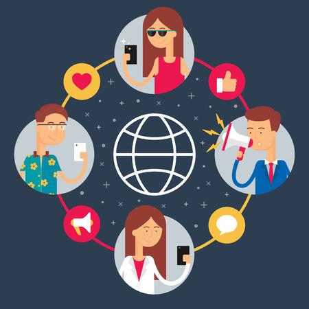 Sociaal netwerk concept. Platte ontwerp stijl moderne vector illustratie voor web Stock Illustratie
