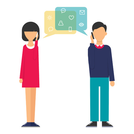 two men talking: Illustration of a woman and a man talking on the phone. Flat design style modern vector illustration for web