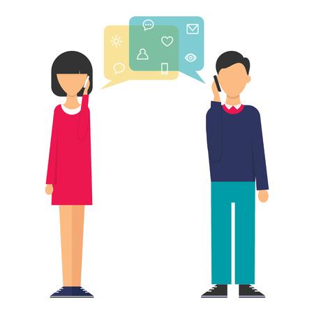 dos personas hablando: Ilustración de una mujer y un hombre hablando por teléfono. Estilo Diseño plano moderno ilustración vectorial para la web Vectores