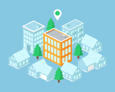 Isometric map, building with pointer. Vector illustration Vector