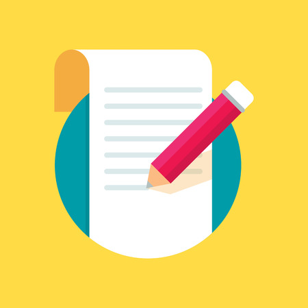 write a letter: Sheet of paper with pencil, writing, copywriting, blogging. Flat style icon, vector illustration