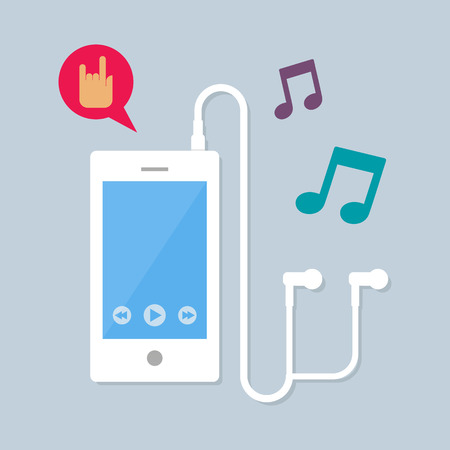 ear phones: Illustration of mobile with earphones playing music, vector flat style