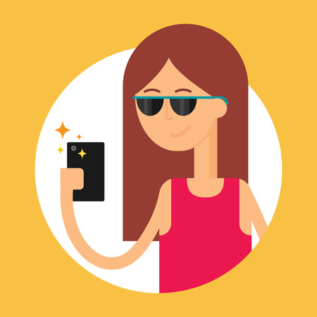woman smartphone: Vector illustration of a woman holding smartphone, modern flat style Illustration
