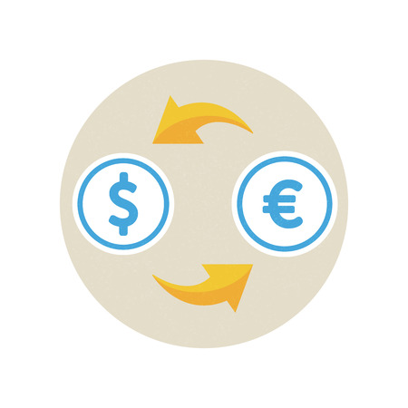 bank transfer: Currency exchange: dollars, euro. Vector illustration, icon, flat style