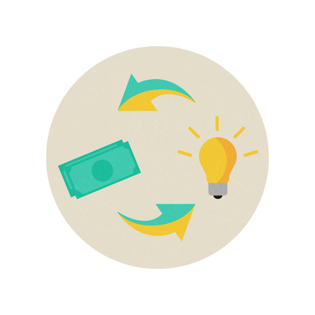 Invention financing concept. Vector illustration, icon, flat style