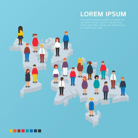 población: Gente que se coloca en el mapa mundial isométrica