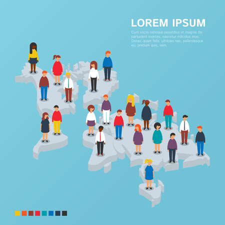 People standing on the isometric world map Çizim
