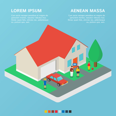 family in front of house: House, family estate. Vector illustration, isometric style
