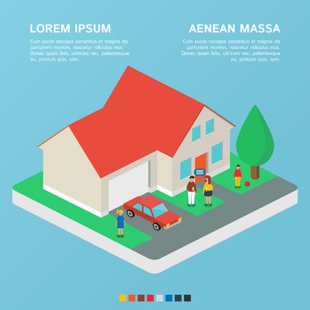 Huis, familie landgoed. Vector illustratie, isometrische stijl