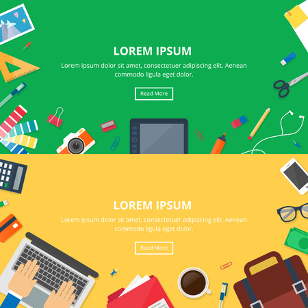 workspaces: Banners for web: design, development, business. Vector illustration, hero images, workspaces, flat style