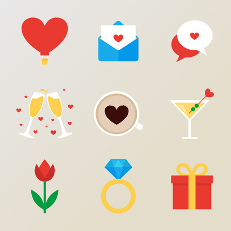 champagne glass: Set of romantic icons