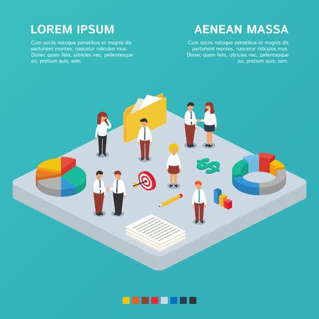 Business concept, business team. Vector illustratie, isometrische stijl