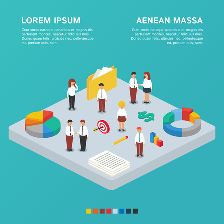 Business concept, business team. Vector illustration, isometric style