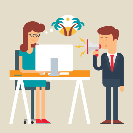 complaining: Vector illustration of an employee abstracting from boss yelling, flat style Illustration