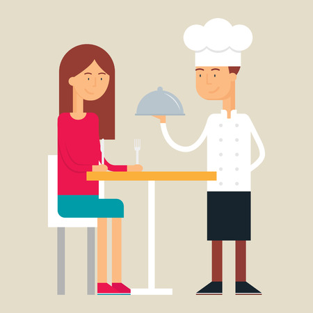 visitor: Illustration of chef and visitor, flat style Illustration