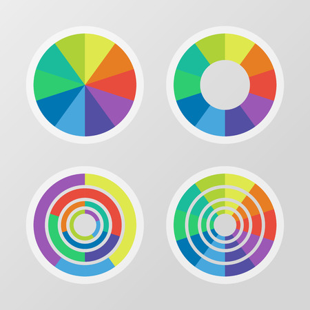 segmented: Set of color segmented charts Illustration
