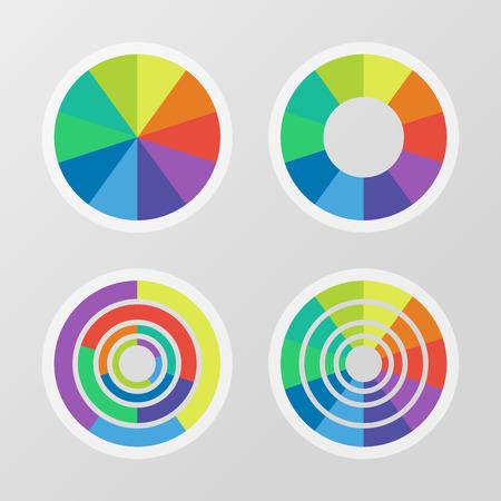 segmented: Set of color segmented charts Illustration