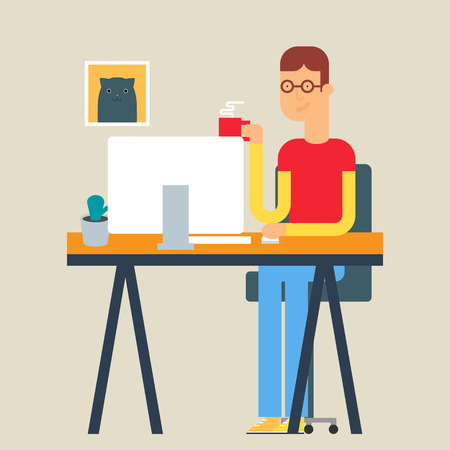 workday: Vector illustration of a man sitting at the table in the office. Flat style Illustration