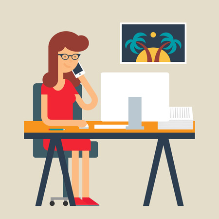 tour operator: Vector illustration of a woman working in the office, flat style Illustration