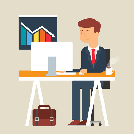 unsuccessful: Vector illustration of an unsuccessful businessman, flat style