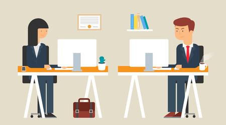 empleados trabajando: Ilustración de los empleados que trabajan en la oficina, estilo plano