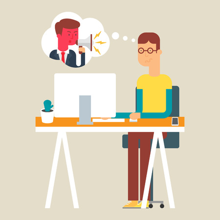 disappointed: Illustration of an abashed and disappointed employee, flat style Illustration